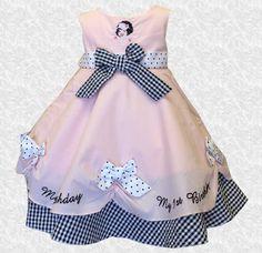e0faedf70 Pink Polka Dot & Checkered 1st Birthday Dress Dot Dress, Dress With Bow,  Pink