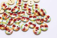 Small Plaid Wooden Button Check Pattern by boysenberryaccessory