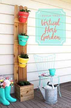 Build your own vertical planter from cedar picket fencing and terra cotta pots. The step-by-step instructions make it easy. This vertical herb garden takes up no space and is the perfect decorative accent for patios, porches and decks of all sizes. Enjoy fresh herbs all summer long!