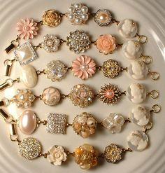 RESERVED 6 Peach & Cream Vintage Pearl and Rhinestone Gold Bridesmaids Bracelets Heirloom Cluster Earring OOAK Bracelets Set of 6