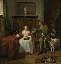 The hunter's present by Gabriël Metsu, 1648. Amsterdam Museum, CC BY