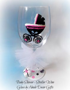Baby Stroller Wine Glass Baby Shower Gift by AbodeDecorGifts