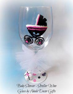 Baby Stroller Wine Glass Baby Shower Gift by AbodeDecorGifts