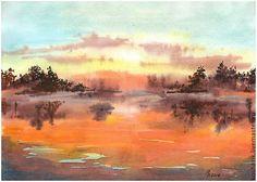 Купить Осень...закат - оранжевый, осень, закат, акварель, пейзаж, небо, вода, подарок
