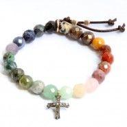 catherine michiels bracelet perles rainbow et croix en diamants sur matemonsac.com
