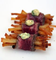 Steak and chips canape
