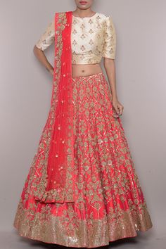 Red & Gold Zardosi Embroidered Raw Silk Bridal Lehenga-WI2566 Raw Silk Lehenga, Bridal Lehenga Online, Lehenga Skirt, Indian Designer Wear, Cool Suits, Indian Wear, Formal Wear, Red Gold, High Waisted Skirt