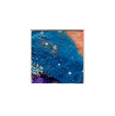 A Delicious shock of cobalt blue runs across this abstract miniature collage, setting off the deep purple and contrasting orange accents by paperwerks on Etsy #etsy $15