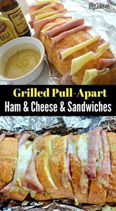 If you love ham and cheese sandwiches, try these delicious Grilled Ham and Cheese Pull-Apart Sandwiches that can also be easily compiled and toasted while camping! Grilled Ham and Cheese Pull-Apart Sandwiches (Fun Camping Meal Idea) - Grill Sandwich, Sandwich Jamon Y Queso, Roast Beef Sandwich, Grilled Ham And Cheese, Campfire Food, Bonfire Food, Wrap Sandwiches, Delicious Sandwiches, Healthy Meals