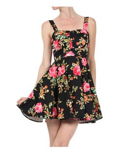 Black Floral Printed Retro Inspired Full Skirt Short A-Line Dress Womens