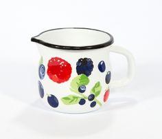 Kubek emaliowany wypukły z dziobkiem Owoce Leśne Elo-Pol 10cm Pantry Design, Sugar Bowl, Bowl Set, Mugs, Pewter