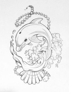 Animal Sketches, Art Drawings Sketches, Animal Drawings, Cute Drawings, Dolphin Drawing, Dolphin Art, Flash Tats, Dolphins Tattoo, Muse Art