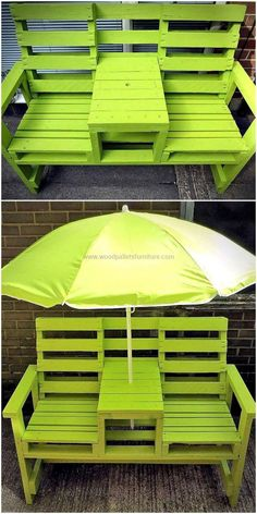 Now here is an amazing idea for the seating arrangement in the garden of the home, the garden bench is painted with funky color which will suit the summer season. There is an umbrella attached to it for the shade and the space between the joint chairs can be used for placing the glass and bottles.