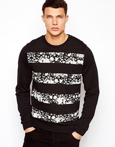 ASOS Sweatshirt With Floral Stripes size M