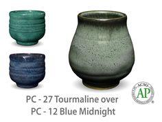 AMACO Potter's Choice layered glazes PC-12 Midnight Blue and PC-27 Tourmaline.