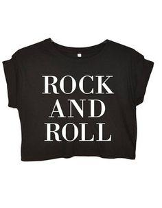 """Crop Top t-shirt  noir avec inscription """"rock and roll"""""""