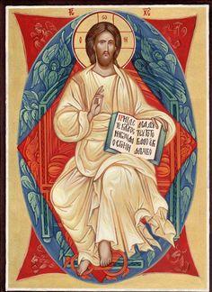 Christ Enthroned In Glory, Jesus Christ, Hand painted orthodox icon, Orthodo. Religious Icons, Religious Art, Image Jesus, Catholic Pictures, Spiritual Paintings, Book Folding Patterns, Jesus Art, Catholic Art, Sacred Art