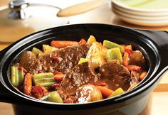 Chuck roast, potatoes, celery and carrots simmer to tenderness in the slow-cooker with an Italian-inspired tomato sauce made special with Campbell's® Condensed Tomato Soup.