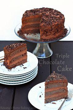 triple chocolate layer cake by RoxanaGreenGirl | Roxana's Home Baking