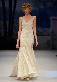 PROVENCE    Spring 2012  Beige cotton toile trimmed in French gold embroidery with velvet inserts