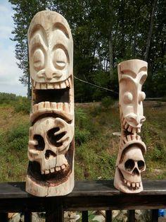 Tiki zombie Plus Tree Carving, Wood Carving, Tiki Man, Tiki Tiki, Tiki Faces, Tiki Statues, Tiki Decor, Tiki Totem, Tiki Lounge