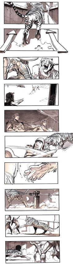 Storyboards by Sylvain Despretz for Ridley Scott's Gladiator