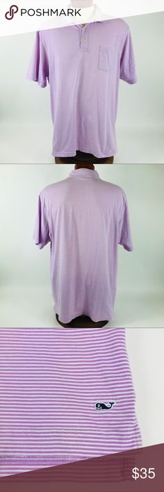 """Vineyard Vines Mens Polo Shirt Sz XL Purple/White Excellent Condition Vineyard Vines by Shep & Ian Polo. Men's XL. Actual measurements below. Purple and White pinstripes. No stains, rips, or holes! Very soft shirt!  Measurements: Pit to Pit: 24.5"""" Sleeve Length: 10.5"""" Total Length: 29.5""""  Thank you for looking and please check out my other high quality men's products! Vineyard Vines Shirts Polos"""