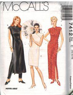 7412 Uncut Vintage McCalls Sewing Pattern Miss Pants Oriental Asian Style Dress | eBay