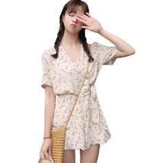 Fasbys Beige Floral Print Playsuits Women Elegant Summer Bow Tie High Waist V-Neck Short Sleeves Jumpsuits Casual Short Overalls
