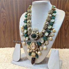 A beautiful combination of Polki - Pearls - Emeralds - Meenakari in Gold Jadau with diamonds Fusion.For price contact: whatsapp 30 August 2018 India Jewelry, Jewelry Sets, Gold Jewellery, Jewlery, Jewelry Making, Craft Jewelry, Antique Jewellery, Handmade Jewellery, Vintage Jewelry