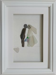 Pebble Art Picture, Sea Glass Art, Wedding Day, Bride and Groom Portrait