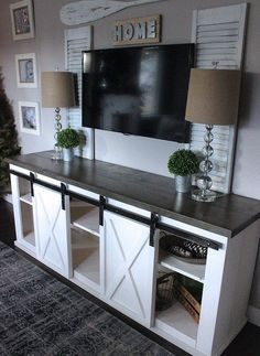 Farmhouse Style with Sliding Door TV Stands