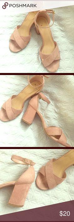 Pink suede ankle strap heels Pink suede ankle strap heels Shoes Heels