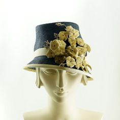 Dark Blue STRAW HAT  Vintage Style Women's Hat by TheMillineryShop, $270.00