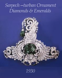 *Aigrette -also known as Sarpech- Turban ornament) Diamonds & emeralds set in platinum. Private collection.1930.