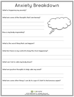 Anxiety Worksheets For Kids And S