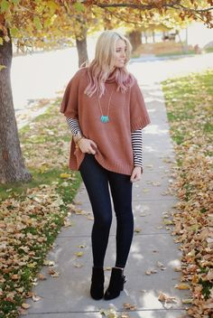 The Red Closet Diary: @jalynnschroeder $160 SPAFINDER GIVEAWAY + Tan cape with black skinnies and boots layered over stripes, great fall attire