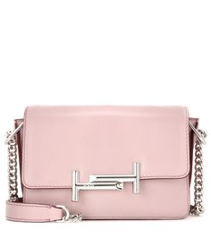 Tod`s - Double T Mini leather shoulder bag - The compact size is perfect for toting all of your daytime essentials, while the mauve-pink leather and silver-tone hardware adds an elegant edge. Carry yours over your shoulder or in the crook of your arm for a refined look. - @ www.mytheresa.com