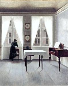 Vilhelm Hammershoi, extraoridinario, genial y absolutamente poco reconocido este genio danés del minimalismo exquisito y esencial de la intimidad.