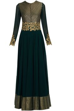 Medha Batra presents Bottle green birds and floral motifs anarkali set available only at Pernia's Pop Up Shop. Indian Gowns, Indian Attire, Indian Ethnic Wear, Indian Outfits, Anarkali Dress, Red Lehenga, Lehenga Choli, Long Anarkali, Bridal Lehenga