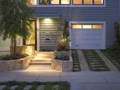 treppenleuchten außen ideen eingang gras garage