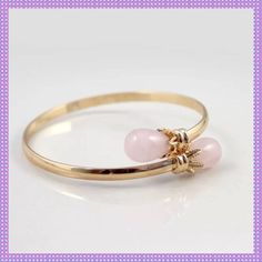 Spotted while shopping on Poshmark: Gold Bracelet with Pink Jade Ends! #poshmark #fashion #shopping #style #Boutique #Jewelry