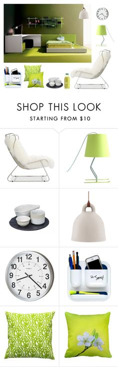 """""""Fresh with Green and White"""" by taci42 ❤ liked on Polyvore featuring interior, interiors, interior design, home, home decor, interior decorating, Mitchell Gold + Bob Williams, Just Slate Company, Normann Copenhagen and Howard Miller"""