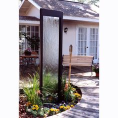 Unique Water Feature, Black Powder Coat &  Glass Fountain In/Outdoor Large