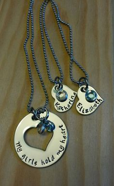 Hand Stamped Necklace My Girls Have My Heart Mother Daughter Necklace by BlackWolfDesigns21