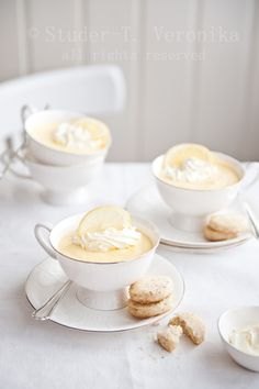Beautiful Lemon Mousse!  Or I would love to serve Banana Pudding in my Grand Ma's Tea Cups!!!