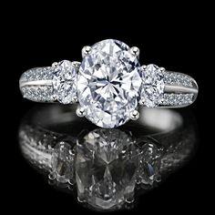 2 CT. Oval Classic three stone engagement/wedding ring Simulated Diamond - Diamond Veneer.