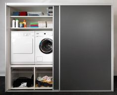 Clever and relatively cheap way of doing this Laundry Cupboard, Utility Cupboard, Laundry Room Cabinets, Laundry Closet, Small Laundry, Laundry In Bathroom, Utility Room Storage, Laundry Room Storage, Laundry Room Design