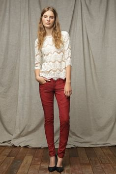 white lace + red pants