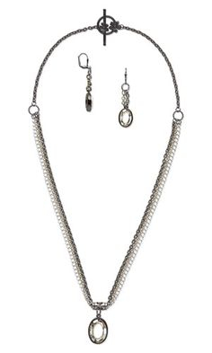 "Triple-Strand Necklace and Earring Set with Swarovski Crystal Components, Antiqued Silver-Plated ""Pewter"" Bead and Plated Brass Chain"